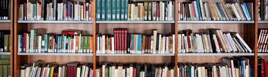 Particolare della sala lettura a scaffale aperto